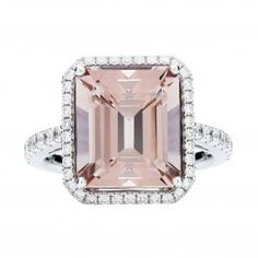 18CT PINK MORGANITE & DIAMOND ROCHESTER RING...luv, luv, luv....