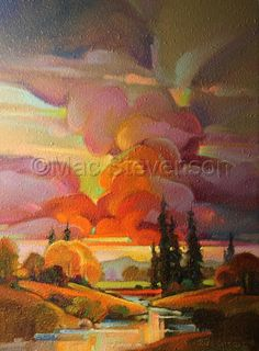 "Contemporary Painting - ""Gathering Billows"" (Original Art from Mac Stevenson)-oil Impressionist Landscape, Landscape Art, Landscape Paintings, Artist Painting, Watercolor Paintings, Seascape Art, Social Art, Art Corner, Environmental Art"