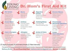 Young Living Essential Oils: Dr. Mom's First Aid Kit!  Most of these oils are part of the Everyday Oils with a FREE reference guide! www.thewelloiledlife.com/premiumkit