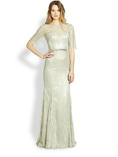 Theia Lace Boatneck Gown in celadon.. a beautiful sea foam shade of green. long short lace sleeves.  delicate jeweled belt. scoop back.