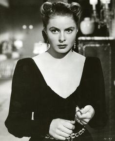 """Ingrid Bergman in """"Notorious"""" I believe this is the scene where she goes to the wine cellar....."""