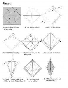 Как сделать оригами из бумаги | Схемы сборки дракона своими руками
