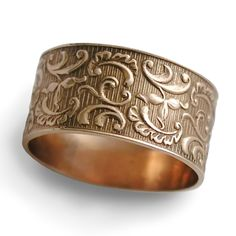 Ornament Gold Ring Ethnic Wedding Band Fl 14k Rose Wide Men Woman Everyday Organic Flower