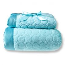 Mommy & Me Blankets in Turquoise Puff Circles  #BabyGifts