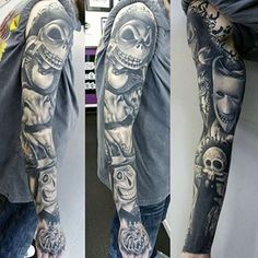 Black and grey horror tattoo sleeve by @richardartistguy.