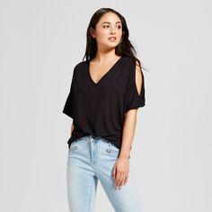 Alison Andrews Women's V-Neck Cold Shoulder Flutter Sleeve Top - Black XL