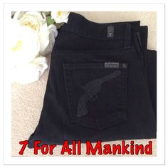 "7 For All Mankind Black Bootcut Jeans 7 For All Mankind black Bootcut jeans with jeweled pistols on both back pockets. Maybe wore a couple of times. Color is jet black, some of the picture may show a little faded due to the lightening but they are black. Contain 2% Elastane to give them the flattering figure comfy look! ❤️. Approx measurements are:  rise 8"", waist laying flat 15 1/2"", inseam 31"", and leg opening 9"". Excellent condition! 7 for all Mankind Jeans Boot Cut"