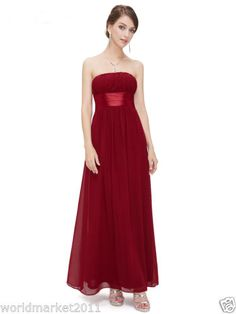 Custom-Made-Blood-Red-Strapless-Floor-Length-Chiffon-Bridesmaid-Wedding-Dress