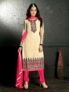 #Beige #Chanderi #Silk #Straight #Cut #Salwar #Kameez #nikvik  #usa #designer #australia #canada #silkkamiz #pakistanisuit