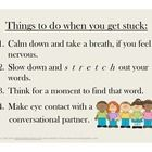 Free! Stuttering tips….poster visual to remind what to can do in a moment of stuttering.