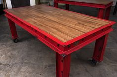 Firehouse Table on Casters by Vintage Industrial Furniture