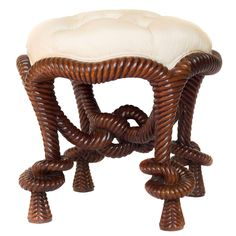 French Napoleon III Style Rope-Twist Dressing Stool | 1stdibs.com