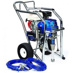 """The Graco 16W887 GMax II 7900 Hi-Boy IronMan Series Gasoline Airless Sprayer comes complete with the Graco Silver Plus Spray Gun, RAC-X 517 Switch Tip and Guard, RAC-X 1231 WIDE Switch Tip, 50' x 3/8"""" BlueMax Airless Hose and 50' x 1/4"""" BlueMax Airless Hose.With a 200 cc Honda engine and the ability to spray up to 2.2 gallons per minute, the GMAX 7900 is Gracos largest gas mechanical sprayer. All 7900 sprayers come equipped with Gracos Extreme-Duty MaxLife pump, and they can handle the…"""