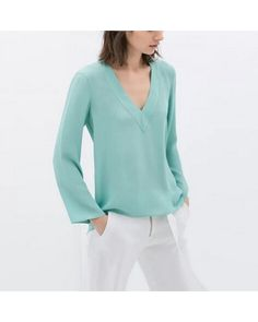 candy colors office lady blouses long sleeve V neck shirts