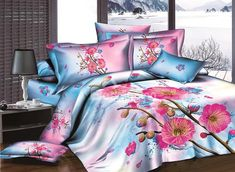 Rosy Blooming Flowers Printing Pure Cotton 4-Piece Duvet Cover Sets #3d #bedding #bedroom