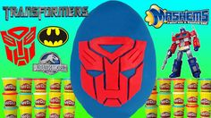 Transformers Optimus Prime Robot Play Doh Playdough Egg Toys Video for Kids ToyBoxMagic - We open a giant Transformers Play doh surprise egg with Batman toys, Mashems, Jurassic World Kinder Eggs with Glow in the Dark Dinosaur, Mr Potato Head wolverine, robot stickers and toys, and even a batman ring pop!