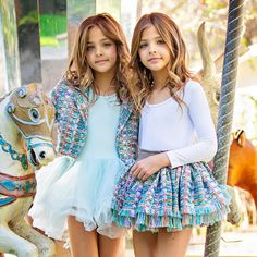 Ava Marie & Leah Rose Clements - the most beautiful twins in the world 💙 Cute Girl Dresses, Cute Girl Outfits, Cute Outfits For Kids, Little Girl Dresses, Young Girl Fashion, Preteen Girls Fashion, Fashion Kids, Little Girl Models, Child Models