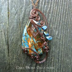 Blue Impression Sea Jasper Wire Wrapped Pendant by CareMoreCreations.com, $49.00