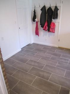 Coastal Grey Resilient Vinyl Tile Flooring for the laundry room Best Bathroom Flooring, Bathroom Floor Tiles, Bathroom Renos, Kitchen Flooring, Bathroom Vinyl, Kitchen Tile, Kitchen Redo, Small Bathroom, Bathroom Ideas