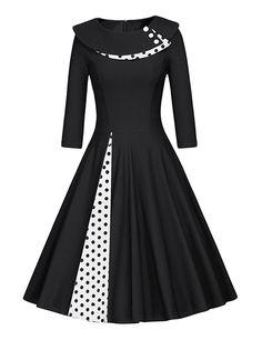 là vestmon damski retro vintage Rockabilly Sukienka spódnica fałd sukienka koktajlowa 50er skrzydła suknie wieczorowe Polka Dot czarne białe kropki z długim rękawem: Amazon.de: Bekleidung