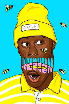 Tyler, The Creator Bees Art Poster Wall Collage Decor, Painting Collage, Artist Painting, Collage Art, Cool Art Drawings, Amazing Drawings, Tyler The Creator Wallpaper, Arte Dope, Trill Art