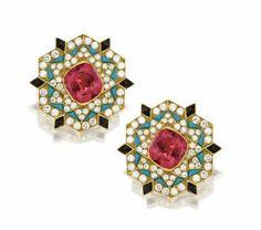 Colored Stone and Diamond Earclips, Bulgari