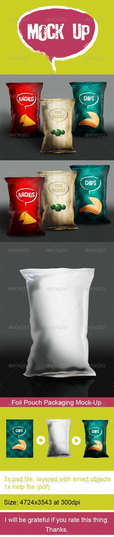Foil Pouch Packaging Mock-Up - Product Mock-Ups Graphics