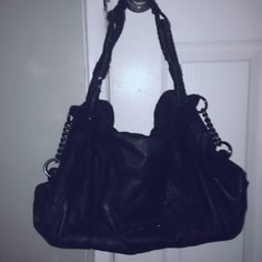 Bcbg shoulder bag One side has mini beaded studs , has one minor defect on the handle , could be sewed back. Other than that great condition. Fits a 13in laptop BCBGeneration Bags Shoulder Bags