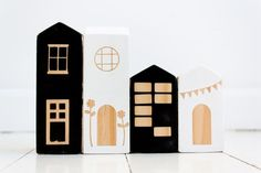 House Blocks  Set of FOUR  Black and White  Wooden by BabeeandMe