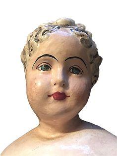 Antique Large High Brow China Doll Head Grey от DerBayzVintage