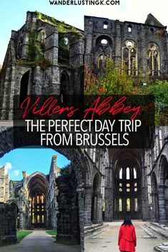 Looking for nice day trips from Brussels? Visit Villers Abbey (Abbaye de Villers), only one hour from Brussel & one of the best things to see in Belgium! Europe Travel Guide, Europe Destinations, Spain Travel, Travel Guides, Travel Belgium, Backpacking Europe, Budget Travel, Places To Travel, Places To Visit