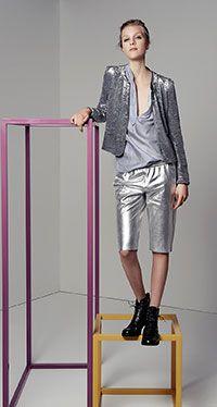 maje silver short suit