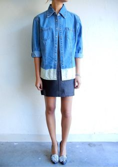 Ombré Botton Denim Buttondown Shirt $83.00