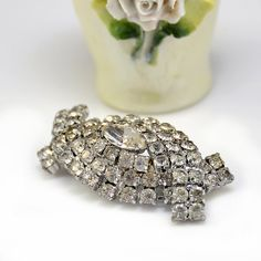 Deco Rhinestone Pin Brooch 3D Marquis White by WilsonAndTeal