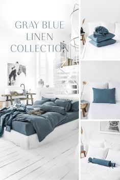 Discover our linen bedding collection in gray blue! Duvet covers, pillowcases, sheets and more available in various sizes. Best Bedding Sets, King Bedding Sets, Luxury Bedding Sets, Blue Duvet, Blue Bedding, Linen Bedding, Bedroom Loft, Bedroom Decor, Bedroom Ideas