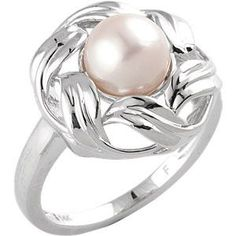 14K White 8mm Freshwater Cultured Pearl Fashion Ring