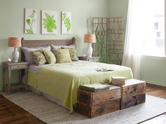 Vintage crates used for in the daytime for sitting, turn them over at night for storing toss pillows!