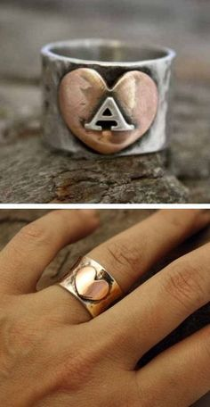 Personalized Follow Your Heart Initial Ring with the letter A