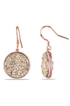 Round Rose Gold Druzy Stone Earrings.
