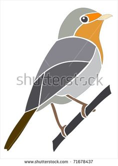 European Robin. Picture and stencil of a bird - buy this stock illustration on Shutterstock & find other images.