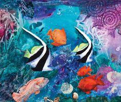 """Aquarium"" (mixed media acrylic collage on illustration board, 15×20) by Nita Leland #PaintingTips #art"