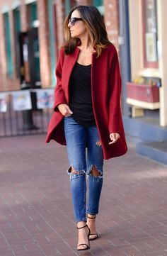 lucy whims destroyed jeans red coat street style