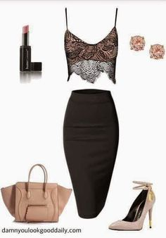 Fall Fashion: Lace Crop Top and Pencil Skirt: Sexy,Sophisticated...