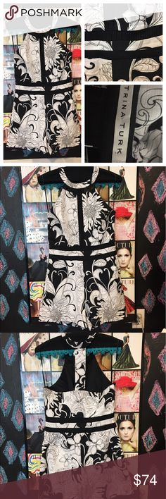 "TRINA TURK romper 😍 size 6 worn once Hard to find Trina Turk black and white romper with pockets🎉✔️ size 6 chest is 32"" wais this 28"" and hips are 38"".   Absolutely amazing romper 😍😍😍😍💯❤ Trina Turk Dresses"