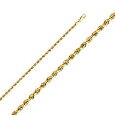 14k Yellow Gold 3mm Solid Rope Diamond Cut Chain Necklace  20 ** Be sure to check out this awesome product from Amazon.com