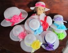 "Childs Tea Party Hat Matching Doll Hat Fits American Girl 18"" Dress Up Favor Set 