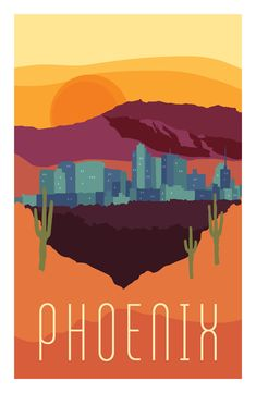 """""""City Posters"""" Collection - Phoenix, AZ poster - purchase here -> https://society6.com/product/city-series-phoenix-hu9_print"""