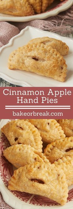 Cinnamon Apple Hand Pies are mini versions of a favorite pie. Made simple with an easy crust and a simple flavor focus, these little guys are a favorite! - Bake or Break ~ Mini Desserts, Just Desserts, Delicious Desserts, Dessert Recipes, Yummy Food, Plated Desserts, Easy Apple Desserts, Cinnamon Desserts, Cinnamon Recipes