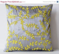 10 OFF Grey Yellow throw pillows with beads detail by AmoreBeaute