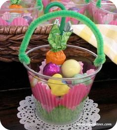 Diy mini easter basket pails perfect for classmate teacher easter basket party favors perfect for school and sunday school class or easter egg hunt favors negle Image collections